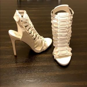 Forever White Cage Heels